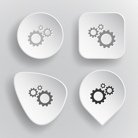 Gears. White flat vector buttons on gray background. Vector