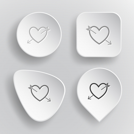 Heart and arrow. White flat vector buttons on gray background. Vector