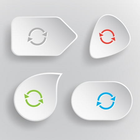 Recycle symbol. White flat vector buttons on gray background. Vector