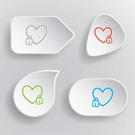 Closed heart. White flat vector buttons on gray background. Vector