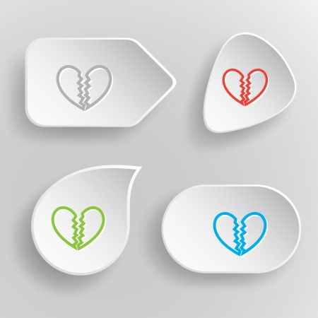 unrequited love: Unrequited love. White flat vector buttons on gray background.
