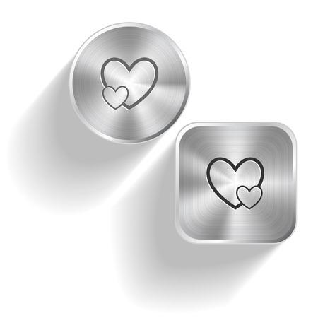 Careful heart. Vector set steel buttons Vector