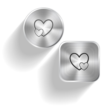 Careful heart. Vector set steel buttons Vector