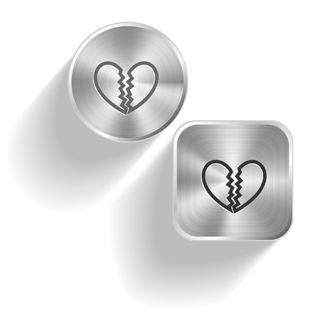 Unrequited love. Vector set steel buttons Stock Vector - 25197592