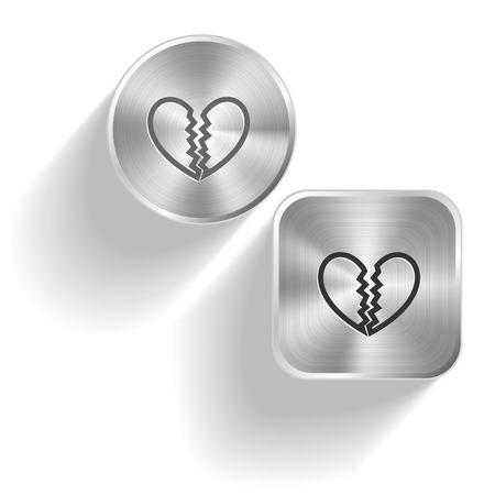 Unrequited love. Vector set steel buttons Stock Vector - 25197592