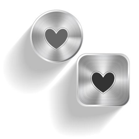 Heart. Vector set steel buttons Vector