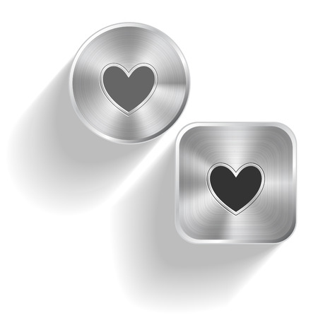 Heart. Vector set steel buttons Vector