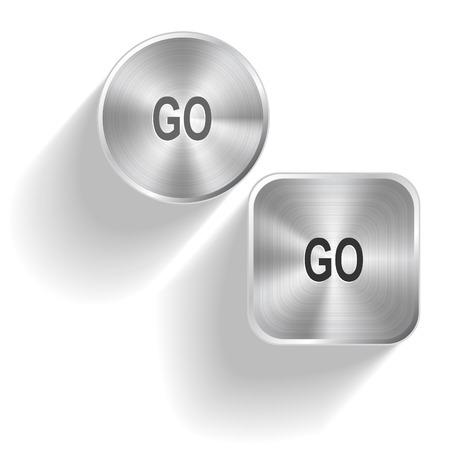 Go. Vector set steel buttons Vector