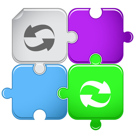 recycle symbol vector: Recycle symbol. Vector puzzle. Illustration
