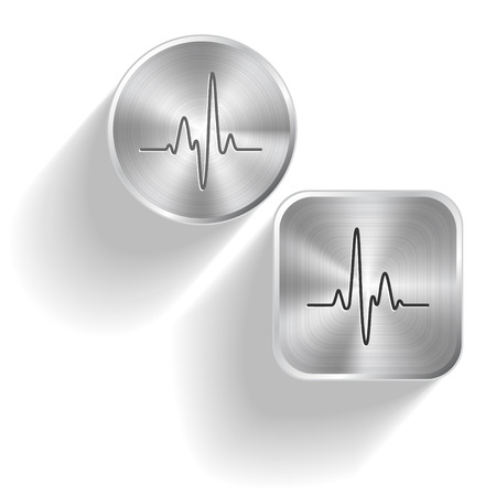 palpitation: Cardiogram. Vector set steel buttons