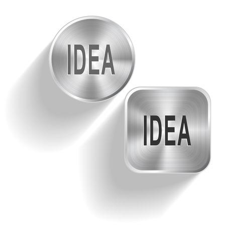 Idea. Vector set steel buttons Vector Illustration