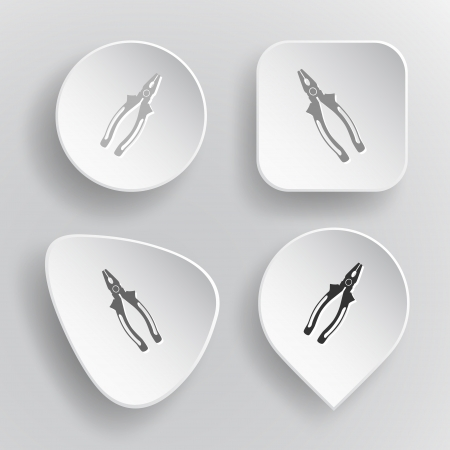 pinchers: Combination pliers. White flat vector buttons on gray background. Illustration