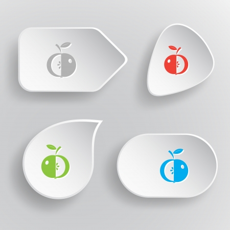 Apple. White flat vector buttons on gray background. Stock Vector - 25210324