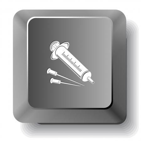 input device: Syringe. computer key.