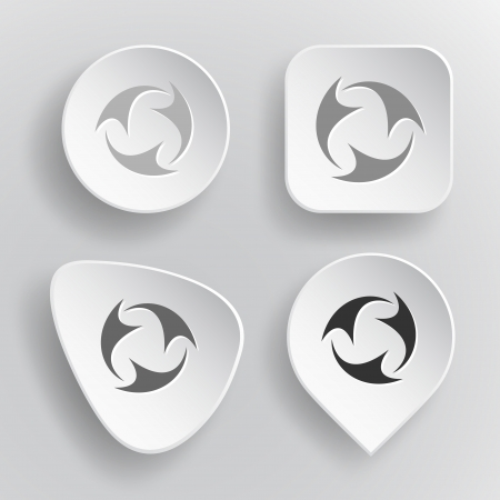 Abstract recycle symbol. White flat buttons on gray. Vector