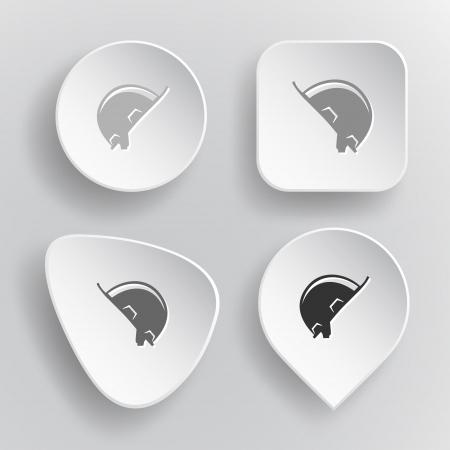 peak hat: Hard hat. White flat buttons on gray. Illustration