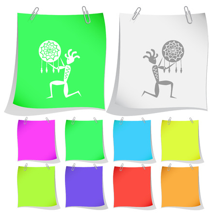 Ethnic little man as shaman. Vector note papers. Vector