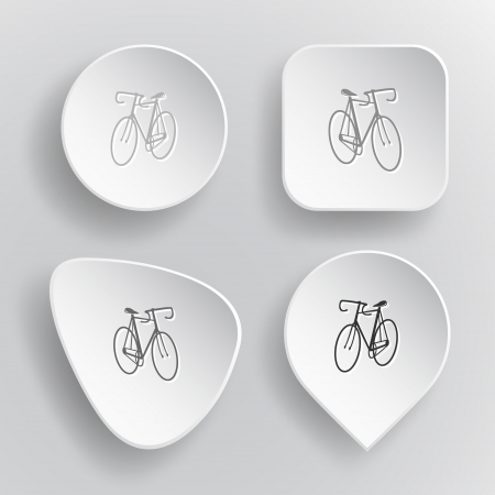 Bicycle. White flat vector buttons on gray background. Vector