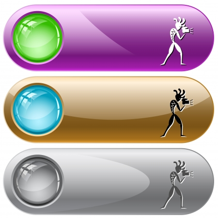 Ethnic little man with camera. Vector internet buttons. Stock Vector - 25302188