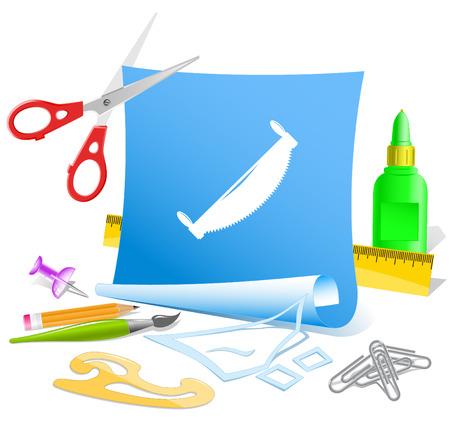 pva: Two-handled saw. Paper template. Raster illustration. Illustration