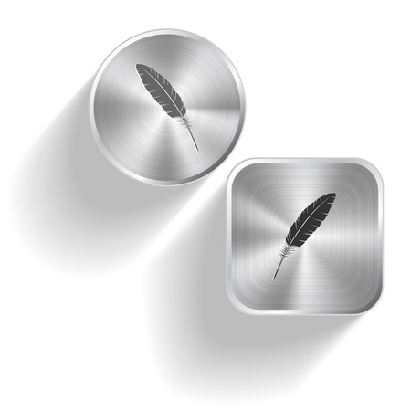 Feather. Vector set steel buttons Stock Vector - 25299827