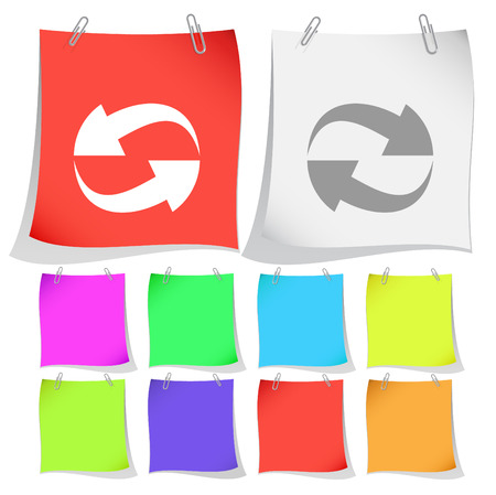 recycle symbol vector: Recycle symbol. Vector note papers.