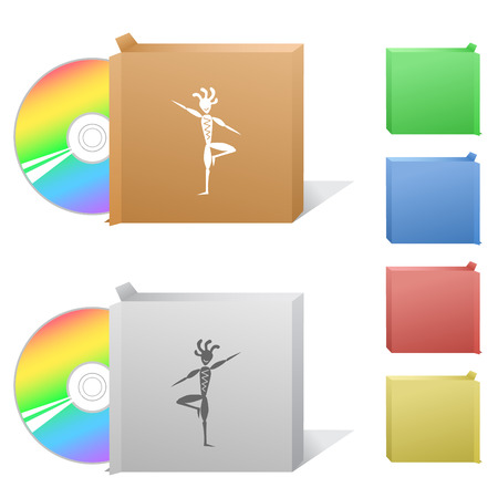 Ethnic little man as yogi. Box with compact disc. Vector
