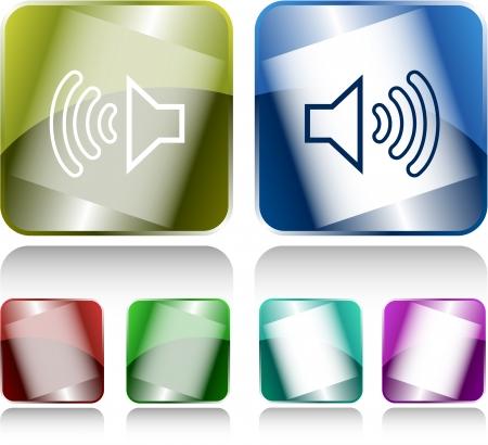 sonic: Loudspeaker. Internet buttons. Raster illustration.