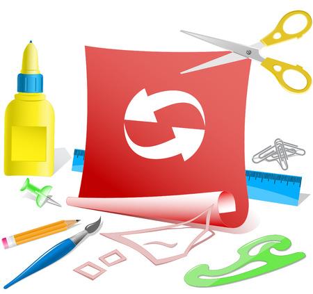 pva: Recycle symbol. Paper template. Raster illustration. Illustration