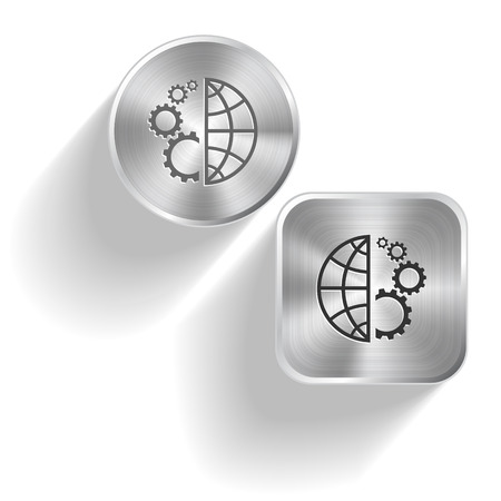 Globe and gear. Vector set steel buttons Vector
