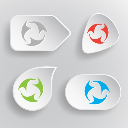 Abstract recycle symbol. White flat vector buttons on gray background. Vector