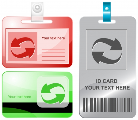 recycle symbol vector: Recycle symbol. Vector id cards.