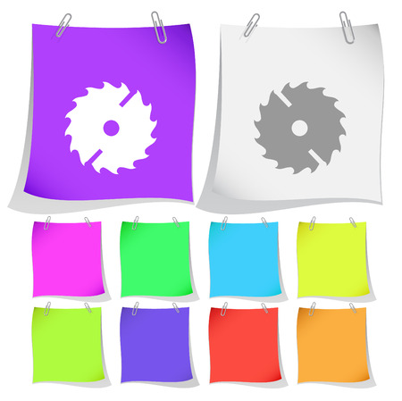Circ saw. Vector note papers. Illustration