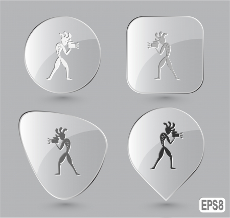 Ethnic little man with camera. Glass buttons. Vector illustration. Stock Vector - 25426180