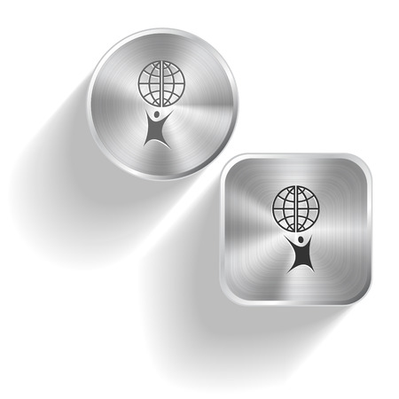 Little man with globe. Vector set steel buttons Vector