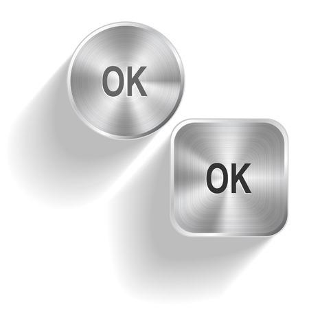 ios: Ok. Vector set steel buttons