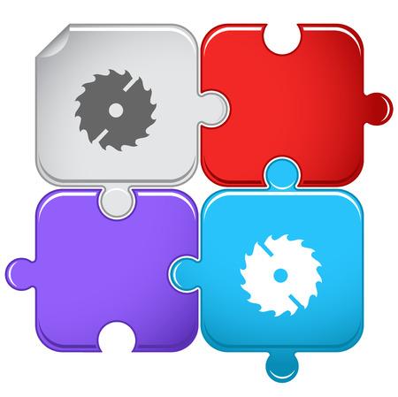 Circ saw. Vector puzzle. Illustration