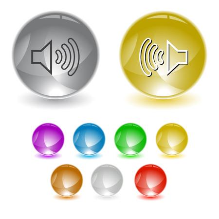 sonic: Loudspeaker. Vector interface element. Illustration