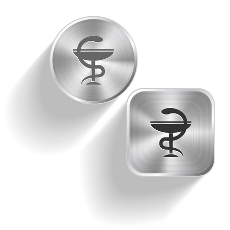 pharma: Pharma symbol. Vector set steel buttons