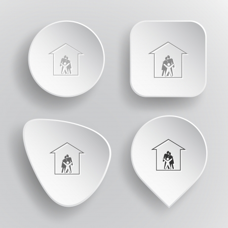 Family. White flat vector buttons on gray background. Vector