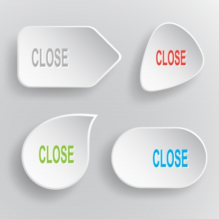 inaccessible: Close. White flat vector buttons on gray background.