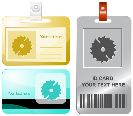 circ saw: Circ saw. Vector id cards. Illustration
