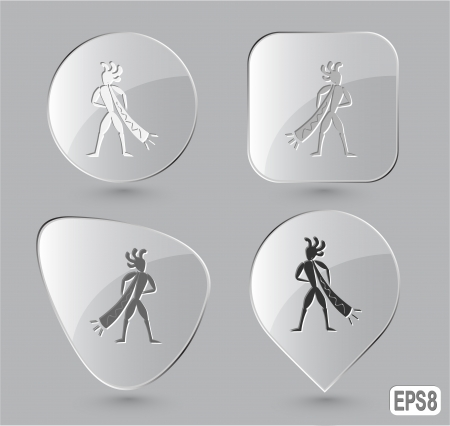Ethnic little man with trumpet. Glass buttons. Vector illustration. Stock Vector - 25468744