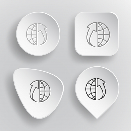 Globe and array up. White flat vector buttons on gray background. Vector