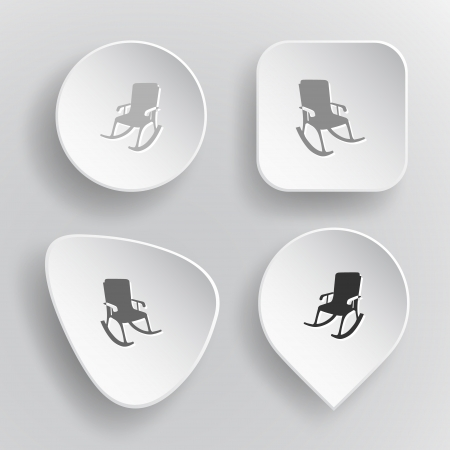 Armchair. White flat vector buttons on gray background. Vector