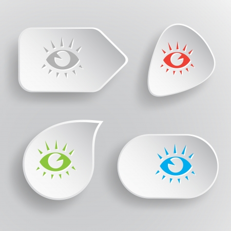 cilia: Eye. White flat vector buttons on gray background.