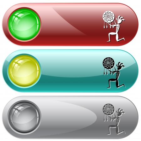 internet buttons: Ethnic little man as shaman. Vector internet buttons.