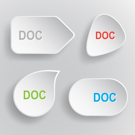 extention: Doc. White flat vector buttons on gray background.