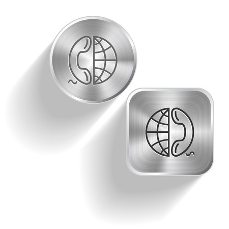 Globe and phone. Vector set steel buttons Vector