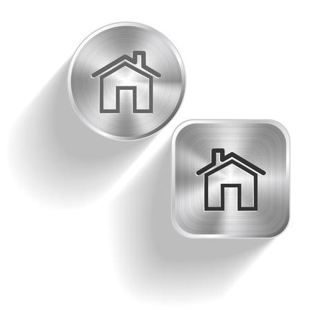 flue: Home. Vector set steel buttons